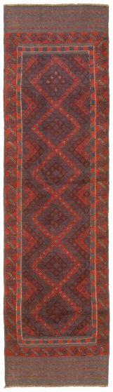 Bordered  Tribal Red Runner rug 8-ft-runner Afghan Hand-knotted 342467