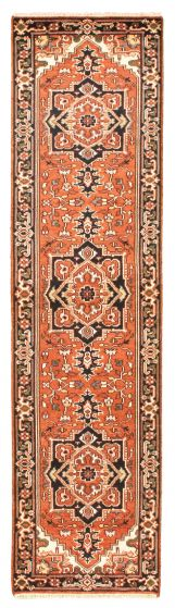 Bordered  Traditional Brown Runner rug 10-ft-runner Indian Hand-knotted 344527