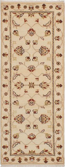 Traditional Ivory Runner rug 6-ft-runner Indian Hand-knotted 223898