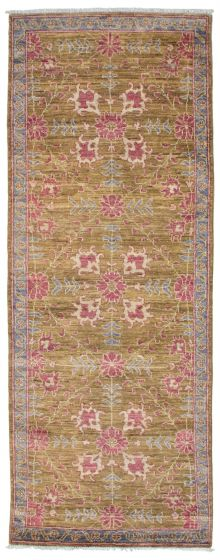 Bordered  Traditional Green Runner rug 8-ft-runner Pakistani Hand-knotted 338745