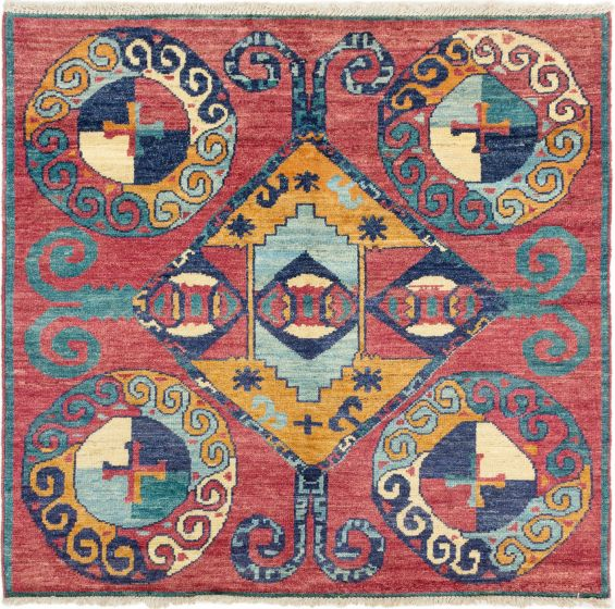 Floral  Transitional Red Area rug Square Indian Hand-knotted 280282