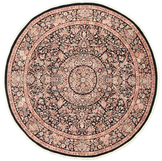 Bordered  Traditional Black Area rug Round Pakistani Hand-knotted 325556