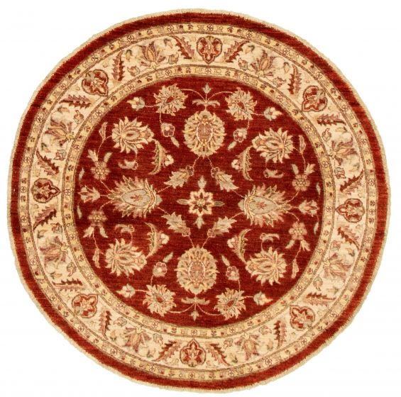 Bordered  Traditional Red Area rug Round Afghan Hand-knotted 331498