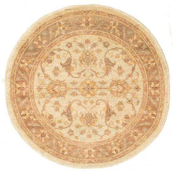 Bordered  Traditional Green Area rug Round Afghan Hand-knotted 336632