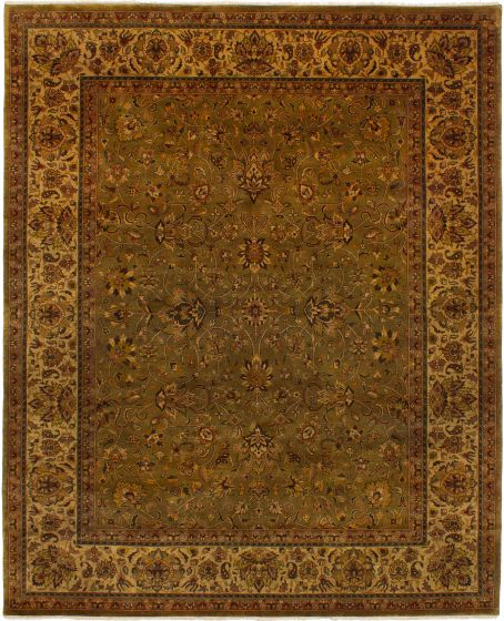 Bordered  Traditional Green Area rug 6x9 Indian Hand-knotted 271894
