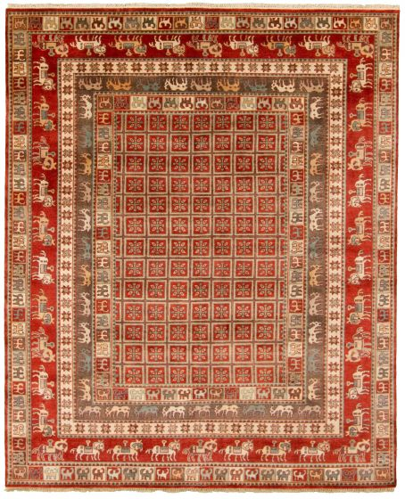 Tribal Red Area rug 6x9 Indian Hand-knotted 313628