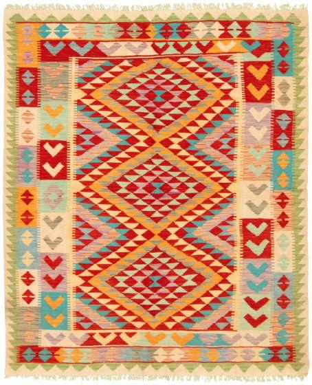 Bordered  Geometric Multi Area rug 4x6 Turkish Flat-weave 330219