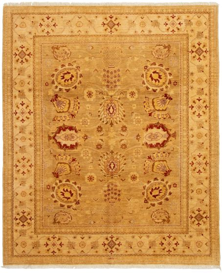 Bordered  Traditional Green Area rug 6x9 Afghan Hand-knotted 330661