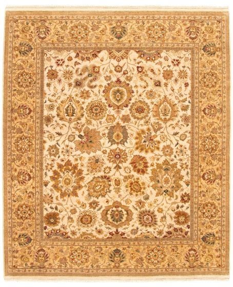 Bordered  Traditional Ivory Area rug 6x9 Indian Hand-knotted 335505