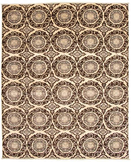 Casual  Transitional Brown Area rug 6x9 Pakistani Hand-knotted 338765