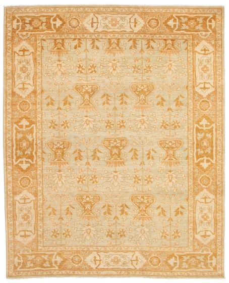 Bordered  Transitional Grey Area rug 6x9 Pakistani Hand-knotted 338774