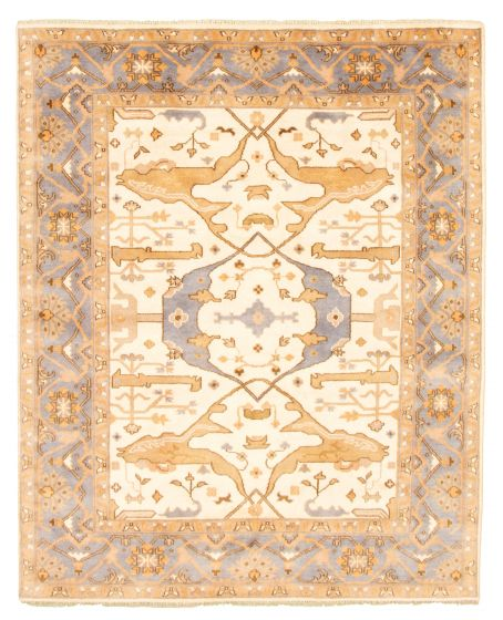 Bordered  Traditional Ivory Area rug 6x9 Indian Hand-knotted 344812