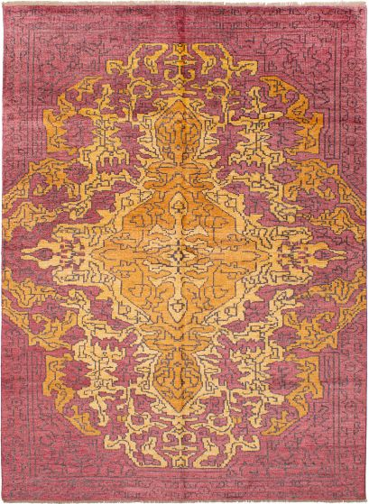 Bordered  Transitional Red Area rug 6x9 Indian Hand-knotted 271705