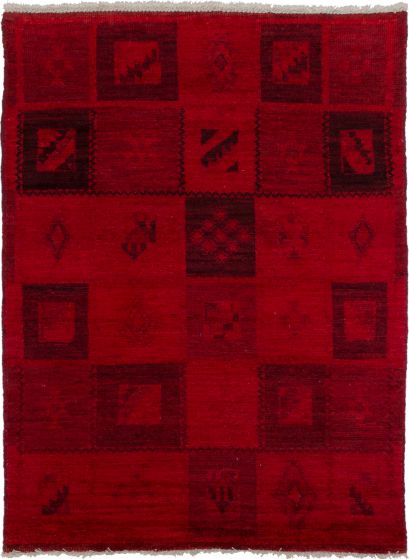 Casual  Transitional Red Area rug 3x5 Indian Hand-knotted 280100