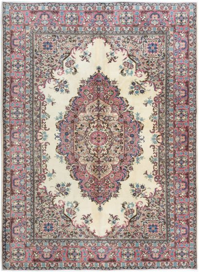 Bordered  Traditional Ivory Area rug 6x9 Turkish Hand-knotted 281048