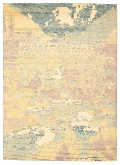 Casual  Contemporary Green Area rug 9x12 Pakistani Hand-knotted 311266