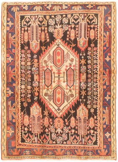 Bordered  Traditional Black Area rug 5x7 Turkish Hand-knotted 320195