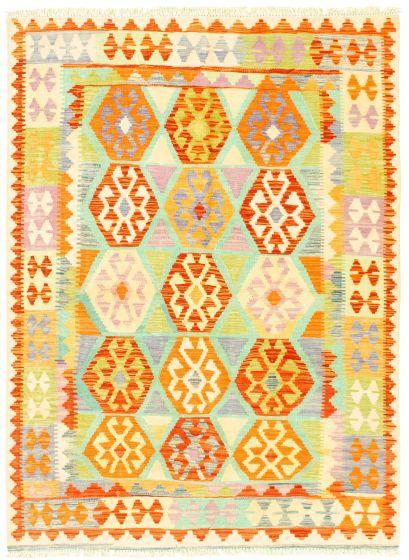 Bordered  Geometric Multi Area rug 4x6 Turkish Flat-weave 329984
