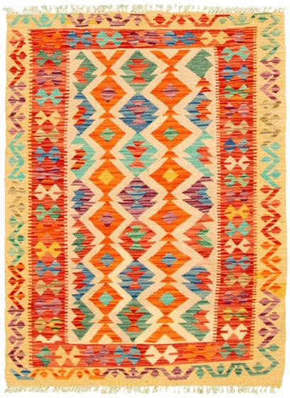 Bordered  Geometric Ivory Area rug 3x5 Turkish Flat-weave 330239