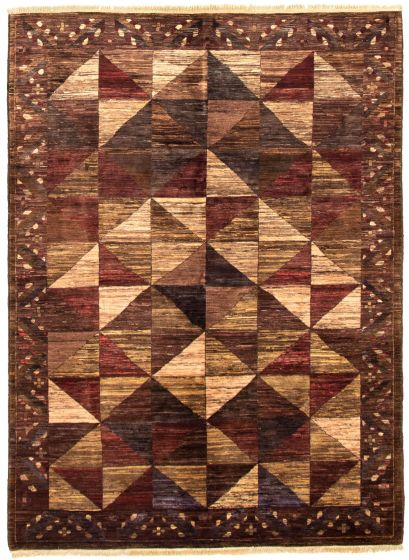 Bordered  Transitional Brown Area rug 5x8 Pakistani Hand-knotted 330537