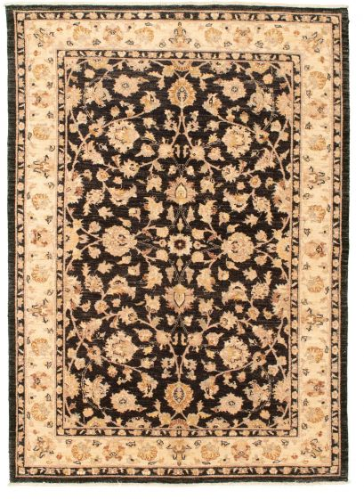 Bordered  Traditional Black Area rug 5x8 Afghan Hand-knotted 331277