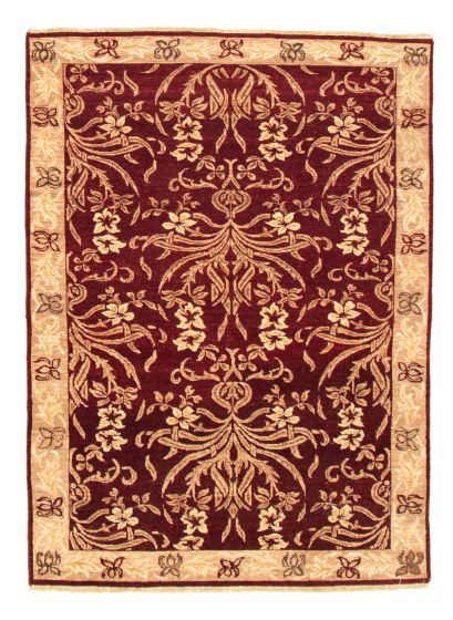 Bordered  Traditional Red Area rug 3x5 Indian Hand-knotted 335215