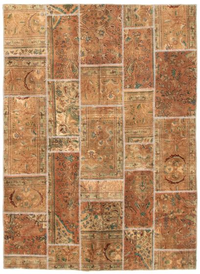Casual  Transitional Brown Area rug 5x8 Turkish Hand-knotted 342197