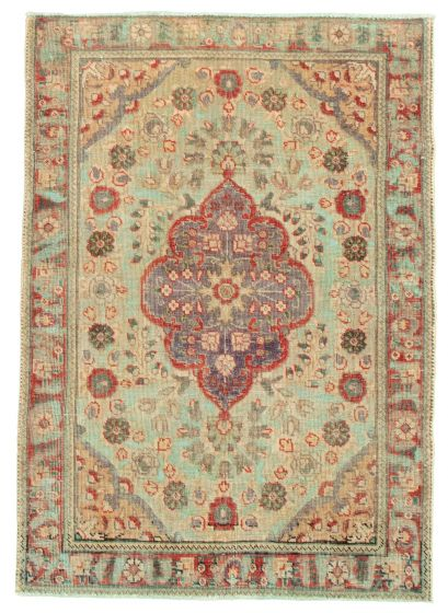 Bordered  Vintage Green Area rug 3x5 Turkish Hand-knotted 342257