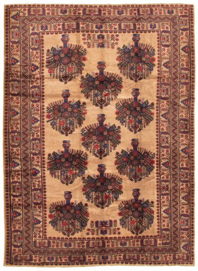 Bordered  Tribal Brown Area rug 6x9 Afghan Hand-knotted 342565