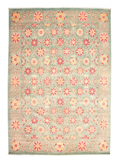 Casual  Transitional Blue Area rug Unique Pakistani Hand-knotted 345154