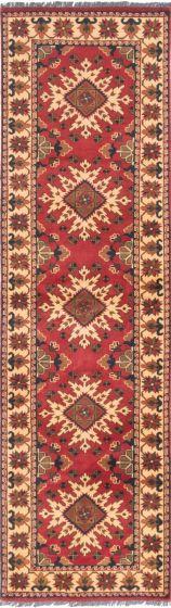 Tribal Red Runner rug 10-ft-runner Afghan Hand-knotted 203128