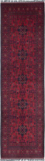 Traditional Red Runner rug 10-ft-runner Afghan Hand-knotted 222231
