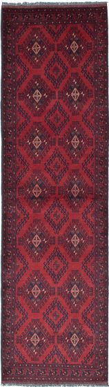 Geometric  Tribal Red Runner rug 10-ft-runner Afghan Hand-knotted 222261