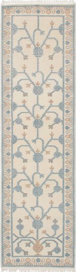 Floral  Traditional Ivory Runner rug 10-ft-runner Indian Hand-knotted 222644