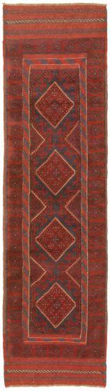 Bordered  Tribal Red Runner rug 8-ft-runner Afghan Hand-knotted 342488