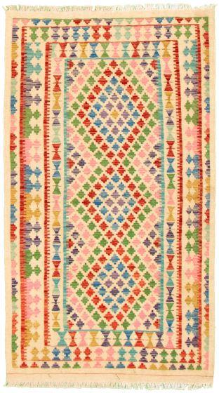 Bordered  Geometric Ivory Area rug 4x6 Turkish Flat-weave 330209
