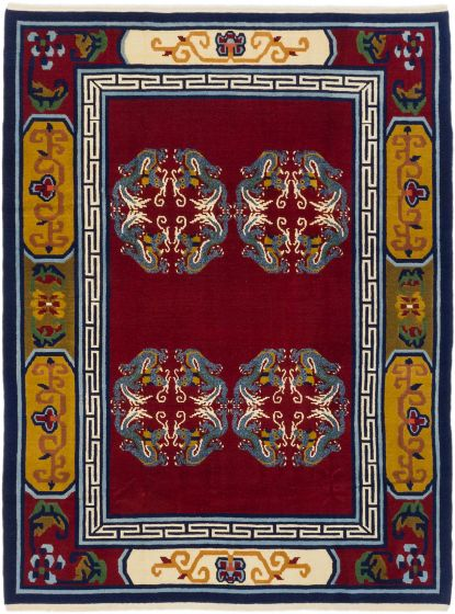 Traditional Red Area rug 5x8 Chinese Hand-knotted 190449