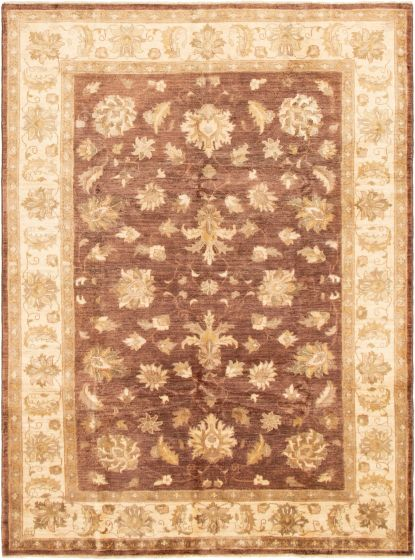 Bordered  Traditional Brown Area rug 5x8 Afghan Hand-knotted 293000