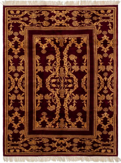 Bordered  Vintage Red Area rug 6x9 Turkish Hand-knotted 293206