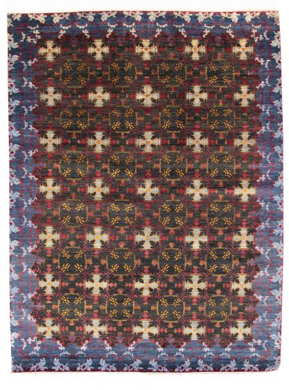 Bordered  Transitional Black Area rug 10x14 Pakistani Hand-knotted 311288