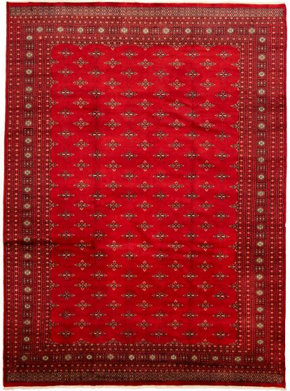Bordered  Tribal Red Area rug 10x14 Pakistani Hand-knotted 330022