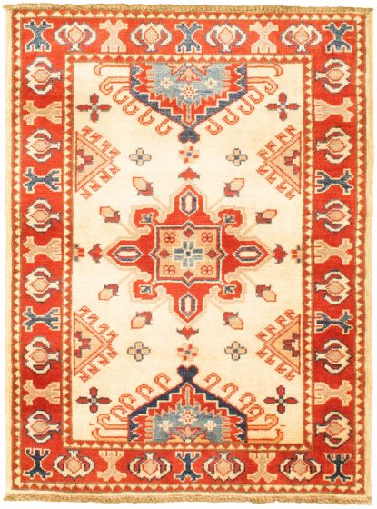 Bordered  Traditional Ivory Area rug 3x5 Afghan Hand-knotted 330157