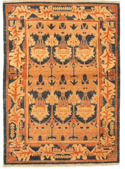 Bordered  Traditional Blue Area rug 3x5 Afghan Hand-knotted 331322