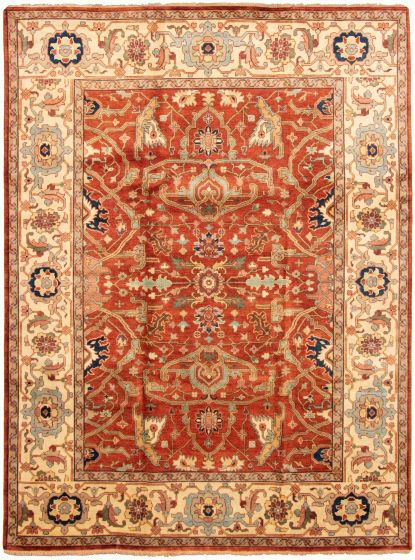 Bordered  Traditional Brown Area rug 9x12 Indian Hand-knotted 331906