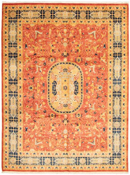 Bordered  Traditional Red Area rug 9x12 Pakistani Hand-knotted 337633