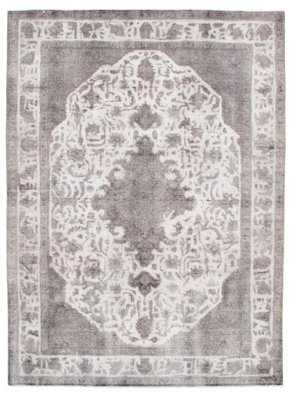 Bordered  Vintage Grey Area rug 8x10 Turkish Hand-knotted 342246