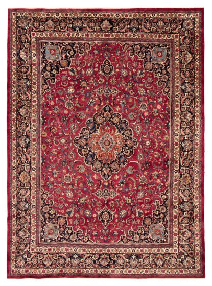 Bordered  Traditional Red Area rug 9x12 Persian Hand-knotted 366578
