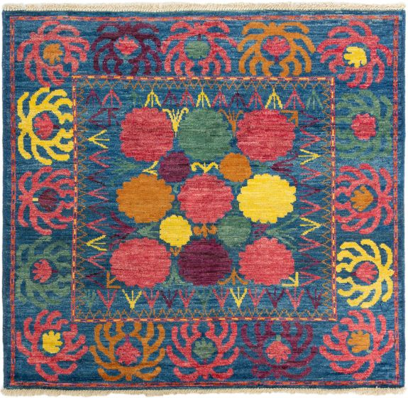 Bordered  Transitional Blue Area rug Square Indian Hand-knotted 280276
