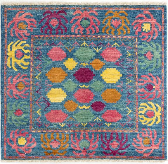Casual  Transitional Blue Area rug Square Indian Hand-knotted 280702