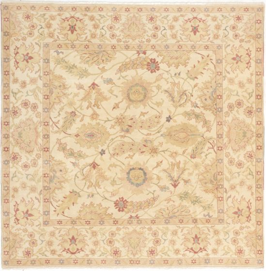 Bordered  Transitional Ivory Area rug Square Turkish Hand-knotted 280810
